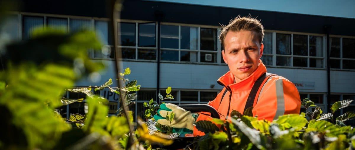groenvoorziening, werken met de heggenschaar